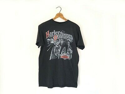 Vintage 1989 HARLEY DAVIDSON 3D EMBLEM T-shirt Denver Colorado Sz Large Distress