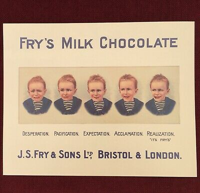 Large Vintage Antique Frys Chocolate Five Boys Mirrored