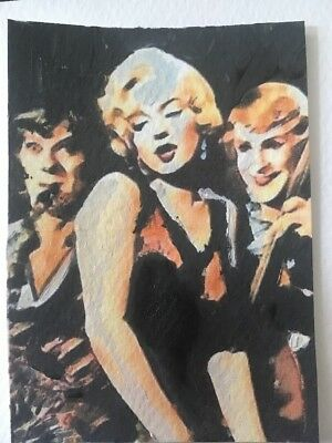 Aceo original Acrylic painted Some Like It Hot. Marilyn Monroe Tony Curtis