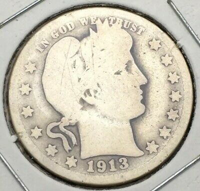 1913-D Barber Quarter Dollar Silver Coin #6