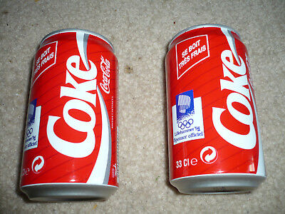 Set of 2 Collectable 1994 Coca Cola can from France Lillehammer Olympics Coke