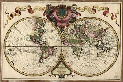 Ornate 1720 World Antique Style Map Poster 24x36 inch