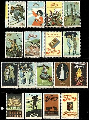 Norway Poster Stamps - Advertising Freia Chocolates - Lot of 24 Different