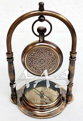 Antique Brass Desk Clock Nautical Pocket Watch With Maritime Ship Desk Compass