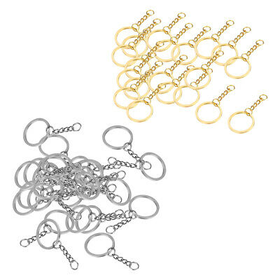 40pcs Key Split Holder Keychain Keyring Ring Double Loop With Link Chain