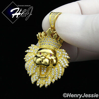 925 Sterling Silver Icy Diamond Bling Small Lion Head Crown Gold Pendant*Sgp122