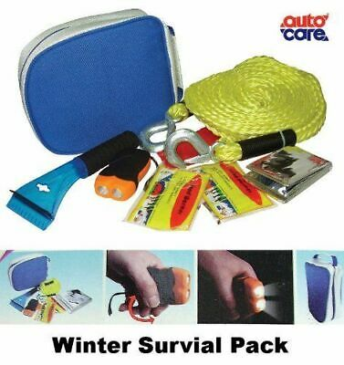 Autocare Car Winter Survival Kit Pack Tow Rope, Torch, Blanket, Warmers, Scraper