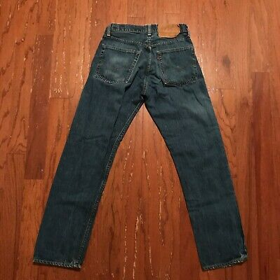 Vtg 1970s Levi's 505 Red Line Selvedge Denim Jeans w/ Talon 42 Zipper 28X30