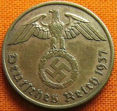 Wwii German 1937 - A 2 Reichspfennig 3Rd Reich Bronze Nazi Germany Coin Wc1855