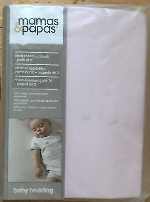 Mamas & Papas Baby Pink 100% Cotton Pack 2 Fitted Cot Bed Sheets New