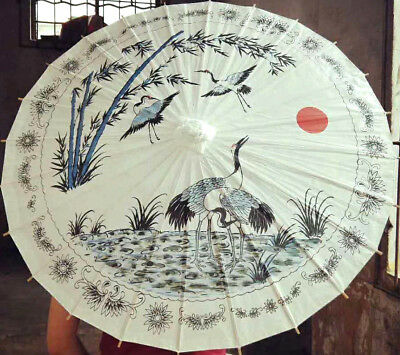 Blue Crane Bird Bamboo White Paper Parasol Chinese Dance Fancy Wedding Party A4
