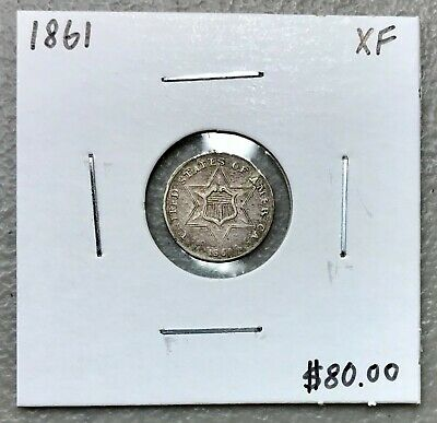 1861 U.s. Three 3 Cent Silver ~ Extra Fine Condition! $2.95 Max Shipping! C1519