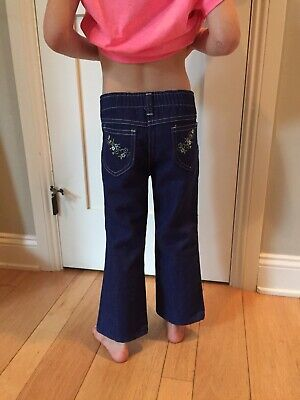 Vintage Little Girls Sz 4 SEARS Toughskins Floral Embroidery Flared Jeans