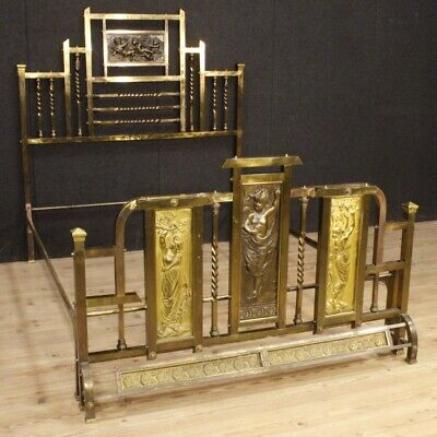Double bed italian furniture camera antique style in metal bronze 900