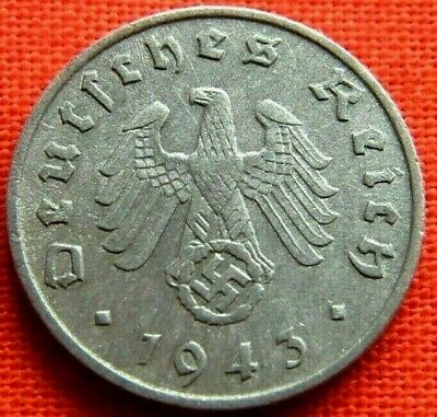 Wwii German 1943 - A 1 Reichspfennig 3Rd Reich Zinc Nazi Germany Coin Wc1649