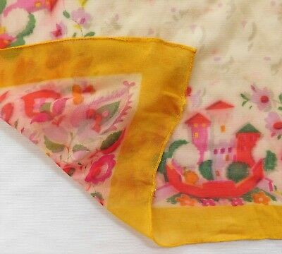 """Ladies vintage crepe scarf with floral design and castles 25"""" square id"""