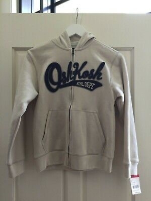 OSHKOSH Boys Logo Hoodie Jacket - Beige  Cream Size 12 BNWT
