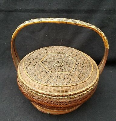 Antique Chinese Hand Woven Bamboo Weding Basket