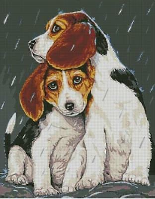 Dogs 2 Cuties in the Rain Cross Stitch Chart Digital Format