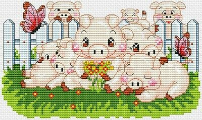 8 Cute Pigs Cross Stitch Chart Digital Format
