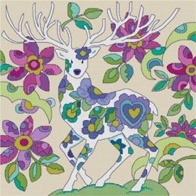Floral Stag Cross Stitch Chart Digital Format