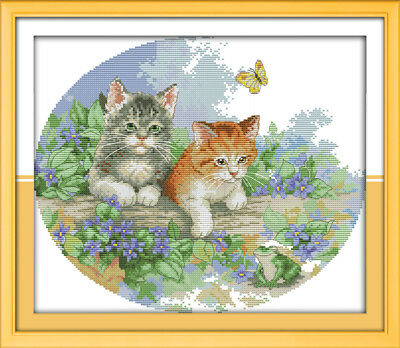 Kittens & Butterflies Cross Stitch Chart Digital Format