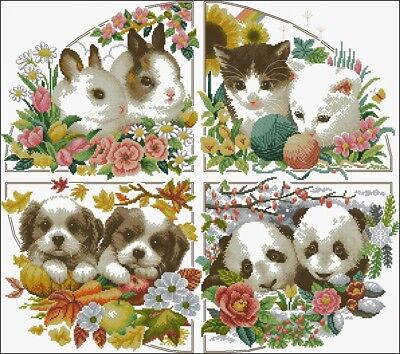 Animals of Season Cross Stitch Chart Digital Format