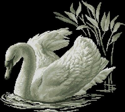 White Swan Cross Stitch Chart Digital Format