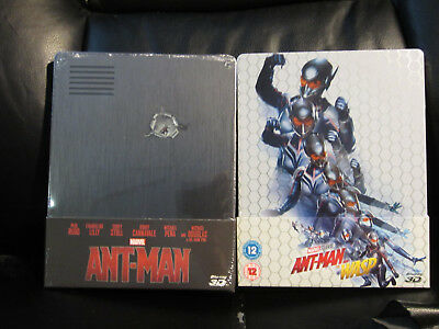 Ant-Man 3D/2D + Ant-Man & the Wasp 3d/2d Blu-Ray Steelbook Sealed New Mint MCU