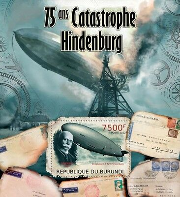 Zeppelin LZ-129 HINDENBURG DISASTER Airship Aircraft Stamp Sheet #2/2012 Burundi