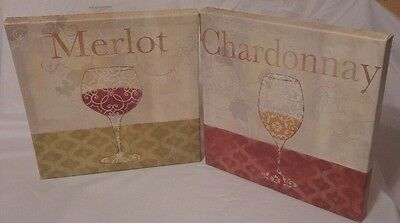 Chardonnay and Merlot Wine Glass Canvas Wood Wall Art Picture Bar Signs Lot of 2