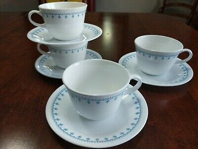 Corelle Set of 4 Blue Garland Snowflake Coffee Cups and 4 Saucers