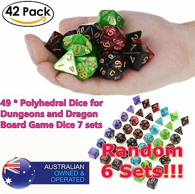 *6set 42pcs Polyhedral Dice DND RPG Game Poker Card Dungeons Dragons PartyC1!!