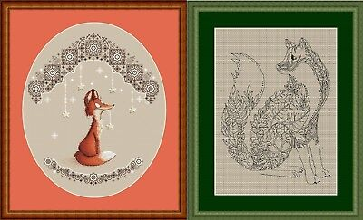 Set of 2 Foxes Cross Stitch Chart Digital Format