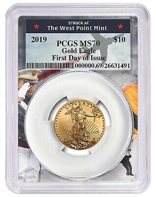 2019 $10 Gold Eagle PCGS MS70 - First Day Issue - West Point Frame