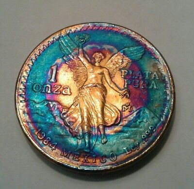 1984 - Mexican Libertad 1oz Silver Coin With Beautiful Toning, Toned*