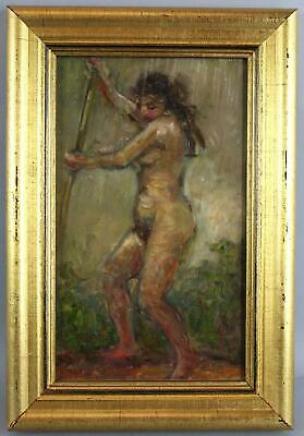 Authentic 1970s ROY COLLINS Impressionist Nude Woman Portrait Oil Painting, NR