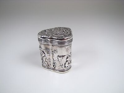 Antique Dutch Repousse Silver Characters Snuff / Peppermint Box
