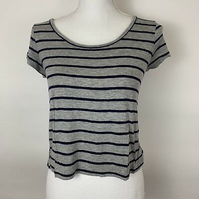005897dab464a9 Charolette Russe Crop Top Small Grey Blue Striped Short Sleeve Open Back  Popover