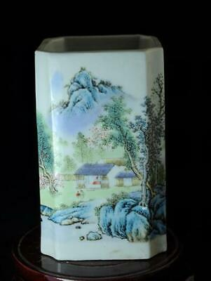 Chinese Old Hand-Made Pastel Porcelain Hand Painted Landscape Brush Pot B02