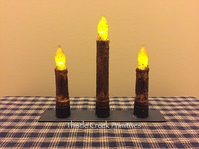 Primitive Black Iron CANDLE HOLDER with 3 Battery TIMER CANDLES - Burnt Mustard