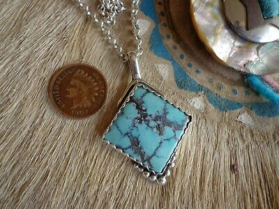 Large Vintage Native American Turquoise/sterling Silver Pendant