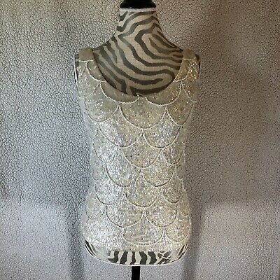 d338be8330f41 Vintage 1960s Jo-Ro Imports Pure Wool Iridescent Sequin Beaded Top Size  Large