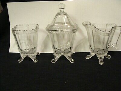 EAPG  King Glass Co's Banded Star 3 Pc. Table Set