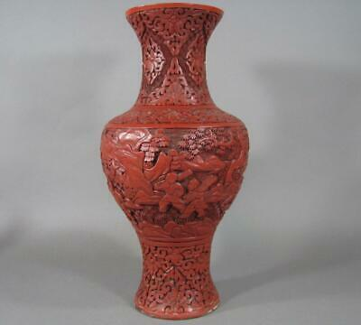 Lg Antique Chinese Carved Cinnabar Lacquer Vase #2, Boys in Landscape, Kung Fu