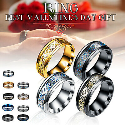 Fashion Silver Celtic Dragon Rings Titanium Stainless Steel Men's Wedding Band