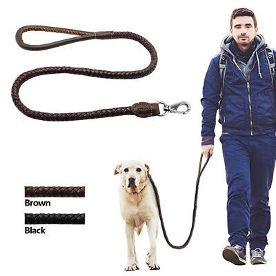 Braided Leather Heavy Duty Dog Leash Strong Leads for Medium Large Dogs Walking