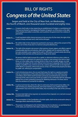 Bill of Rights of The United States of America Historical Poster 24x36 inch