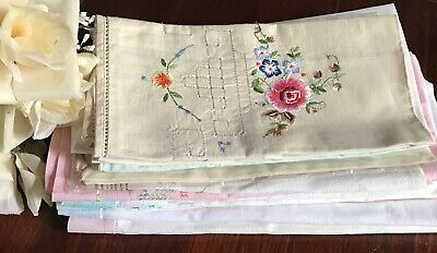 Lot 12 Vintage Linen Towels Embroidered Patchwork Quilt Craft Pink Green Roses