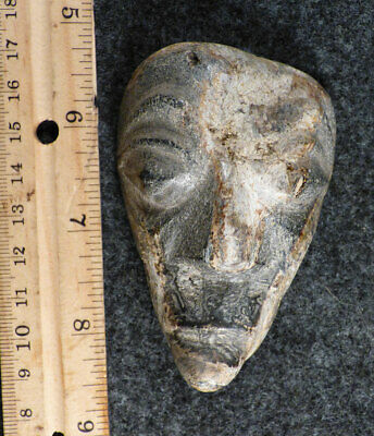 Original Old Cherokee Indian Carved Stone Face Amulet 1800's